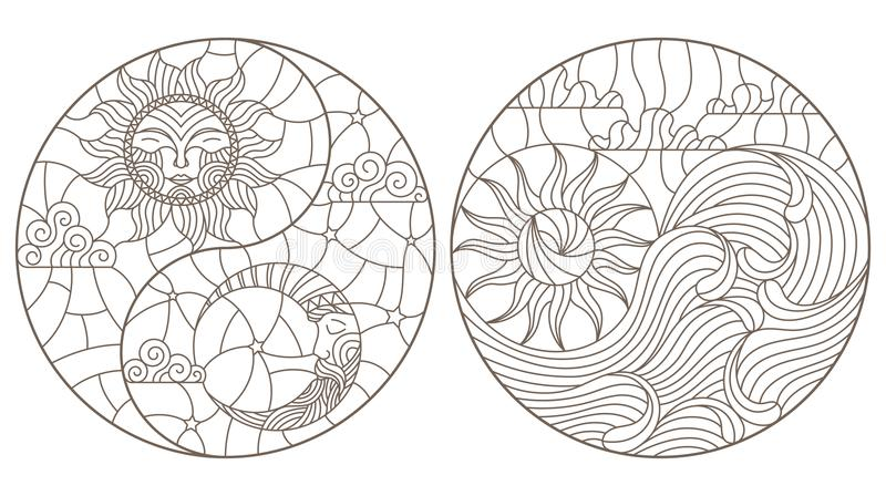 Contour set with illustrations in stained glass abstract landscape in the form of a circle, the sun and the moon in the sky and th stock illustration