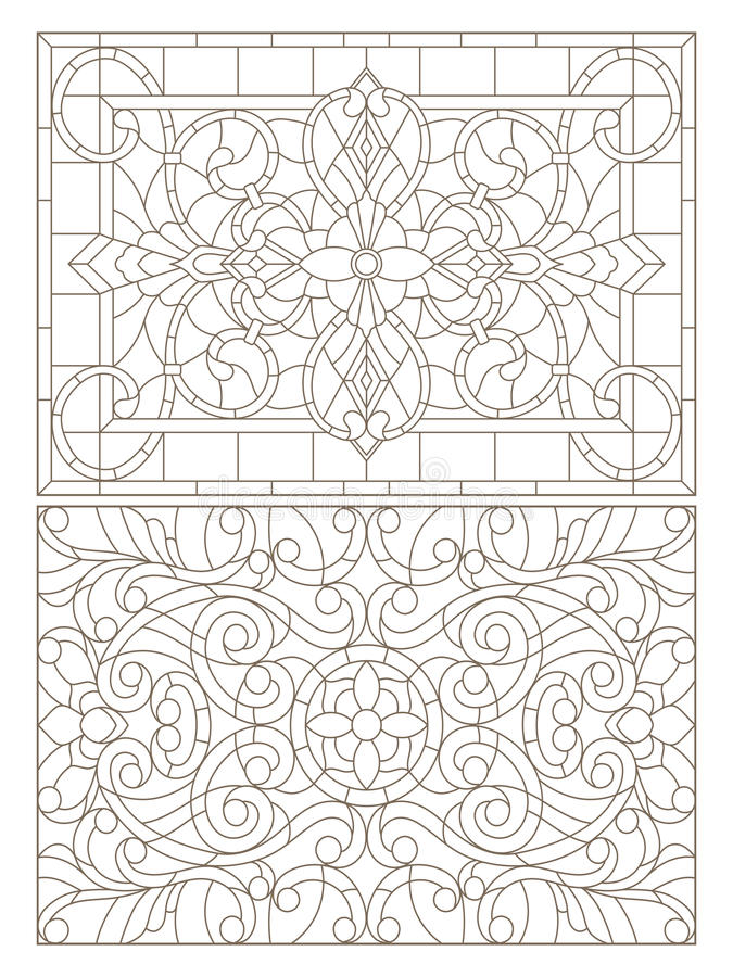 Contour set with illustrations of stained glass with abstract swirls and flowers , horizontal orientation vector illustration