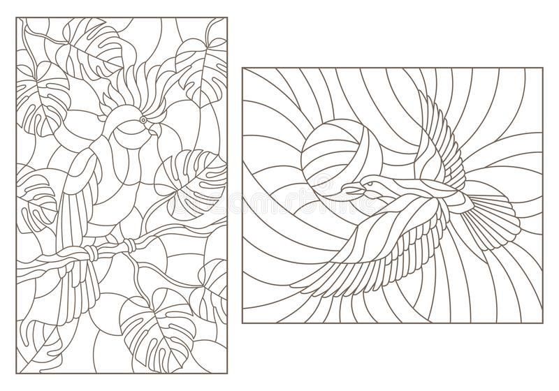 Contour set with illustrations of stained glass with birds, a parrot on the branches of plants and the crows against the sky , da royalty free illustration