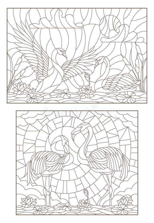 Contour set with illustrations of stained glass with birds on the pond a pair of swans and a pair of flamingos royalty free illustration