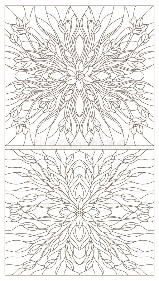 Contour set with  illustrations of stained glass with floral arrangements of tulips and crocuses, dark contours on a white backgro. Set of contour illustrations royalty free illustration