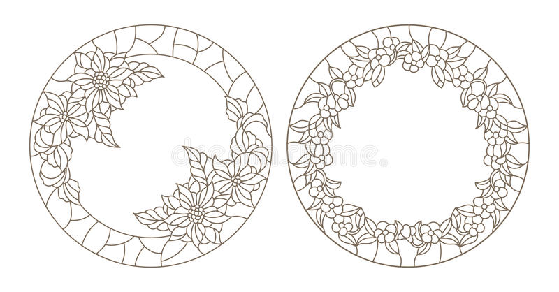 Contour set with illustrations of stained glass with floral framework. Set contour illustrations of stained glass with floral framework stock illustration