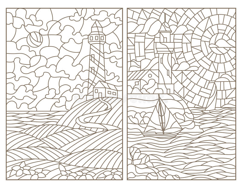 Contour set with illustrations of stained glass seascapes, lighthouses and ships stock illustration