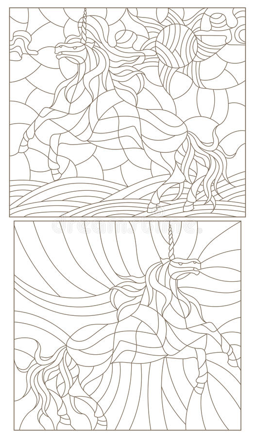Contour set of illustrations in the stained glass style with abstract unicorns vector illustration