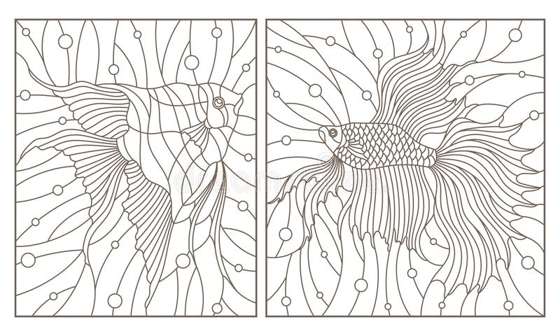 Contour set with illustrations in the stained glass style aquarium fish fish and scalars , dark contours on white backgroun. Set contour illustrations in the vector illustration