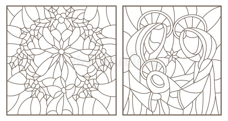 Contour set with illustrations of stained glass Windows on biblical theme, Jesus baby with Mary and Joseph and Christmas wreath vector illustration