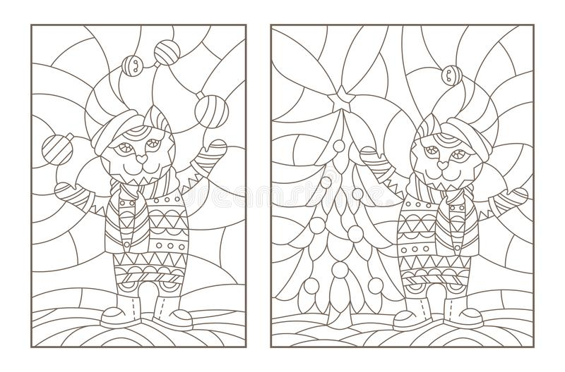 Contour set with illustrations of the stained glass Windows with Christmas cats, dark outlines on a light background royalty free illustration