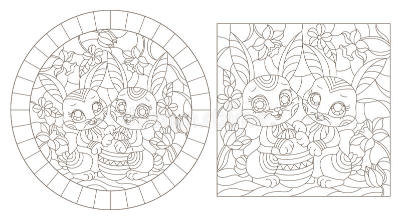 Contour set with   illustrations of stained glass Windows with funny Easter rabbits and egg on a background of flowers , dark cont royalty free illustration