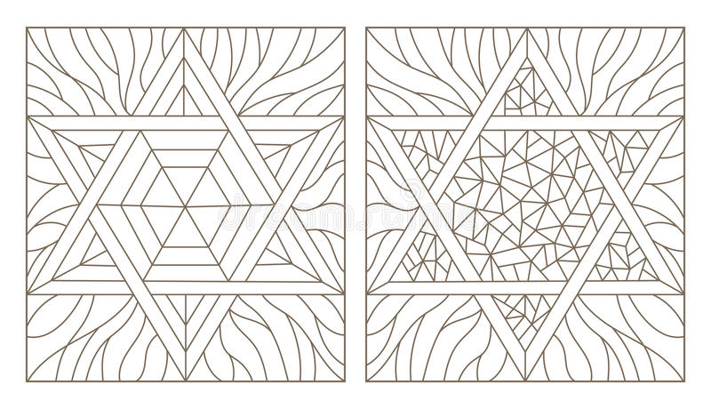 Contour set illustrations of the stained glass Windows with star of David, dark outline on a white background stock illustration