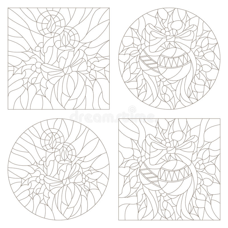 Contour set of illustrations of the stained glass Windows on the theme of new year and Christmas with candles and Christmas royalty free illustration