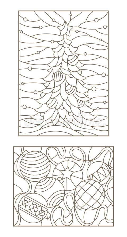 Contour set with illustrations of the stained glass Windows on the theme of new year and Christmas still life with Christmas decor vector illustration