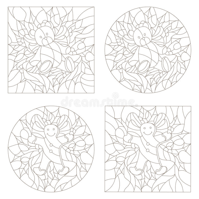 Contour set of illustrations of the stained glass Windows on the theme of new year and Christmas Teddy bears and the gingerbread stock illustration