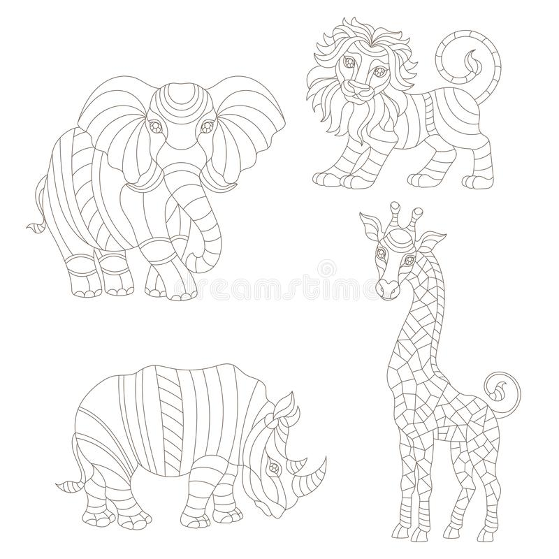 Free Contour Set With Stained Glass Elements, African Animals, Abstract Rainbow Elephant, Giraffe, Lion And Rhino, Isolated On White B Royalty Free Stock Images - 136159469