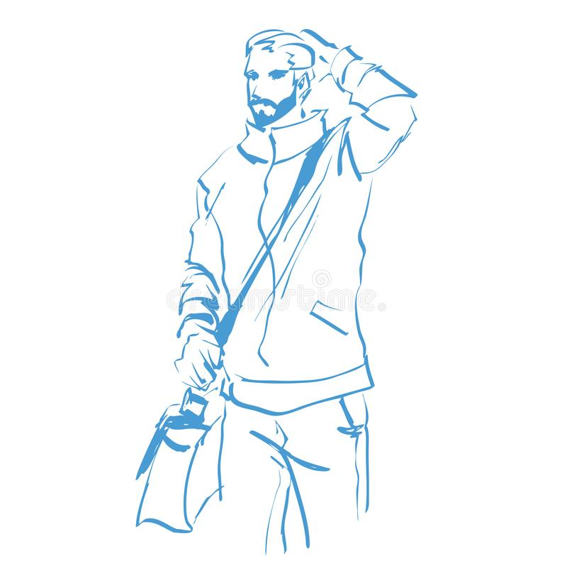 Fashion Man Logo  Hand Drawing Stock Vector - Illustration