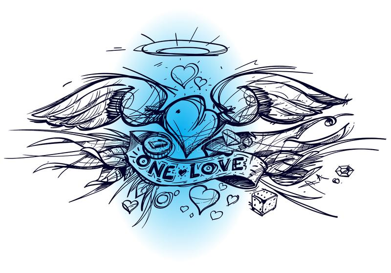 Contour sketch of a heart with wings in a hand drawing style. A sketch of a tattoo vector illustration