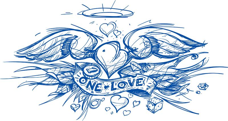 Contour sketch of a heart with wings in a hand drawing style. A sketch of a tattoo royalty free illustration