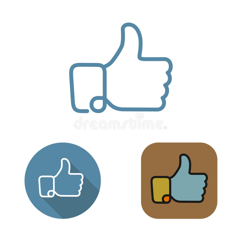Contour social network like icon and stickers set royalty free stock photo