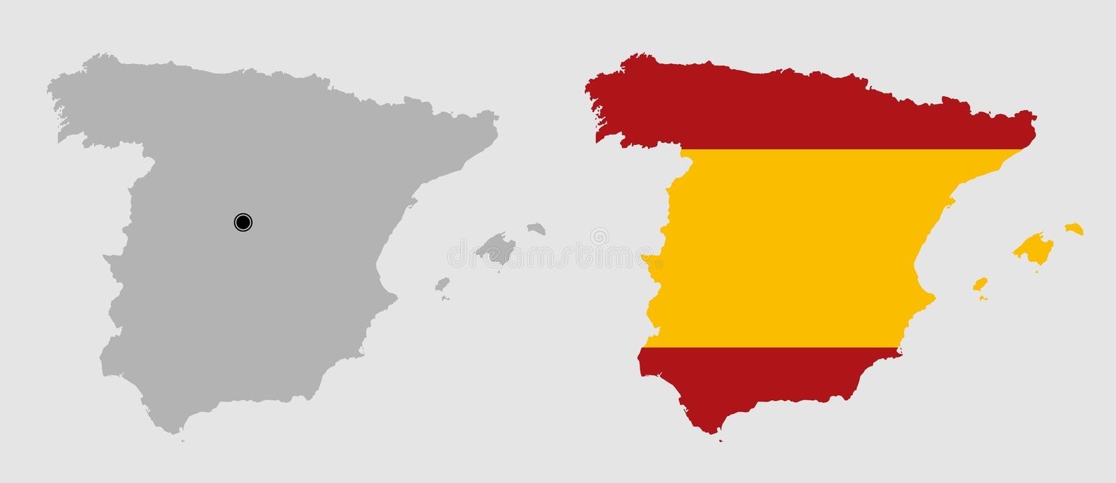 Contour of Spain. In grey and in flag colors stock illustration