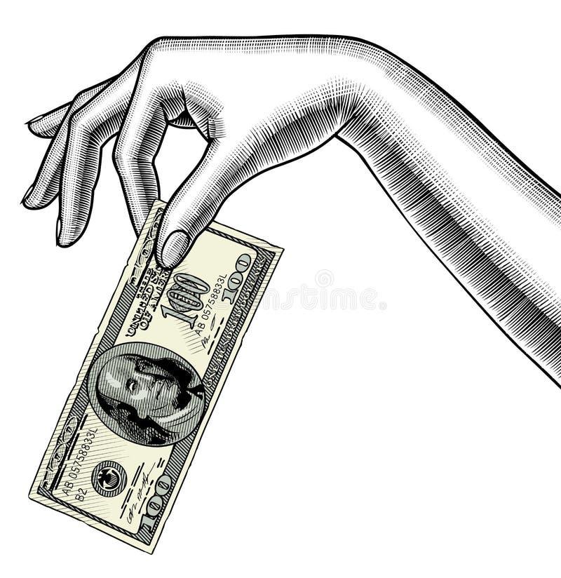 Contour van de palm van de vrouwen` s hand neer met een 100 dollarsbankbiljet i royalty-vrije illustratie