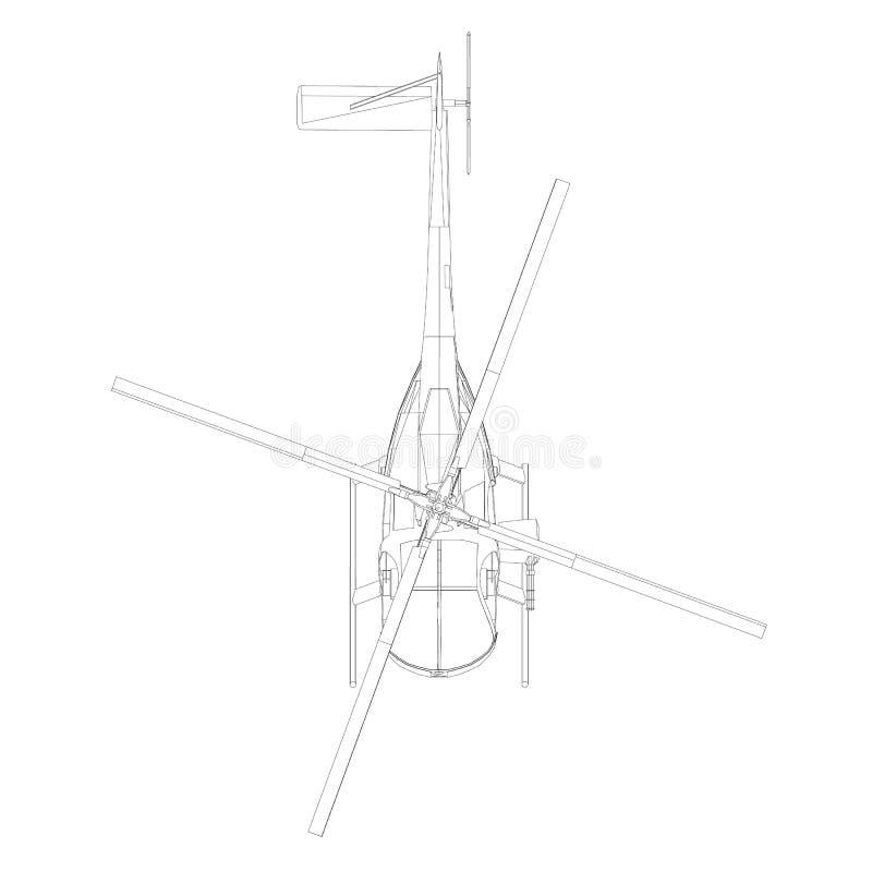 Contour van de zwarte die lijnhelikopter op witte achtergrond wordt geïsoleerd Mening van hierboven Vector illustratie stock illustratie