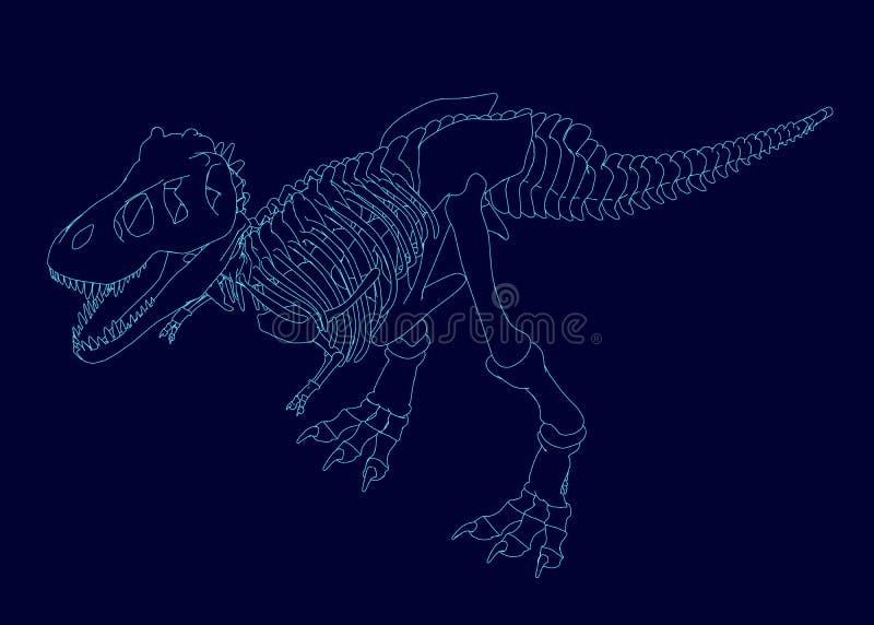 Contour van een dinosaurusskelet Isometrische mening Vector illustratie vector illustratie