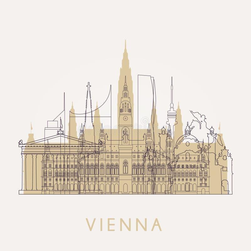 Contour Vienne Horizon de vintage avec des points de repère illustration libre de droits