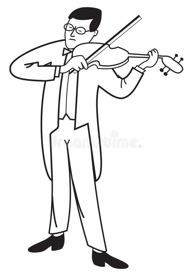 Contour of violinist. Illustration contour of a violinist isolated on white background vector illustration