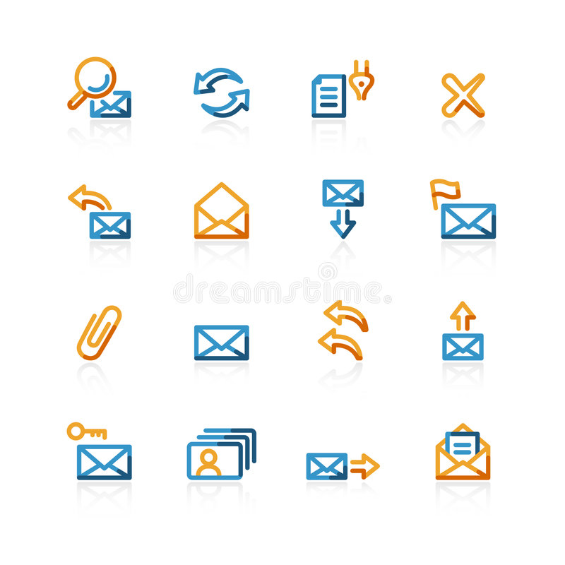 Contour web-mail icons. Color contour web-mail icons on the white background royalty free illustration