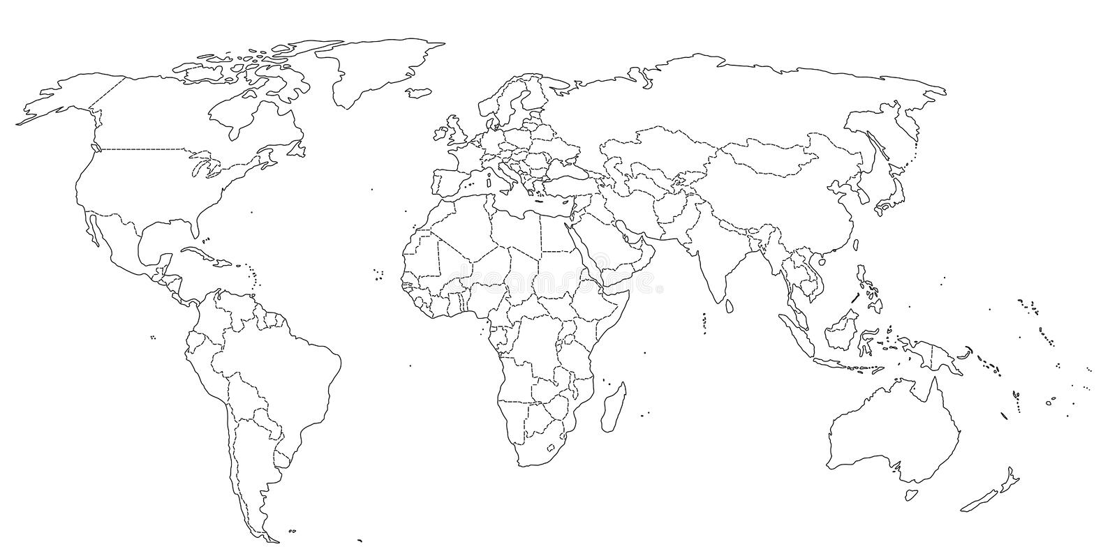 Contour world map black and white colors stock illustration