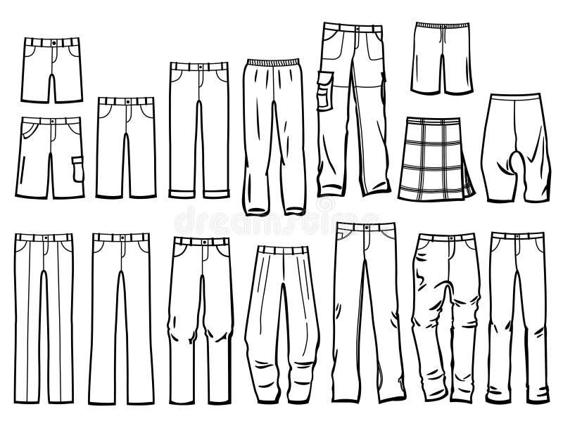 Contouren mannelijke broek royalty-vrije illustratie