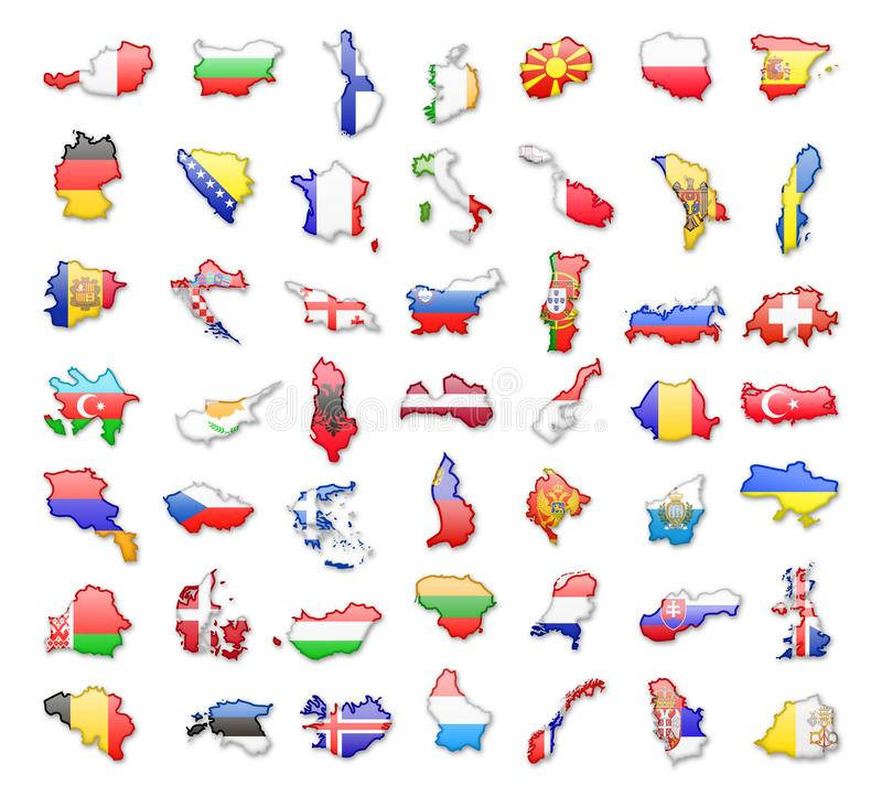Contouren van Europese landen met vlaggen Vector illustratie royalty-vrije illustratie
