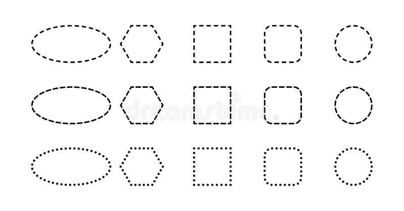 Contouren van geometrische vormen met gestormde lijnen vector illustratie