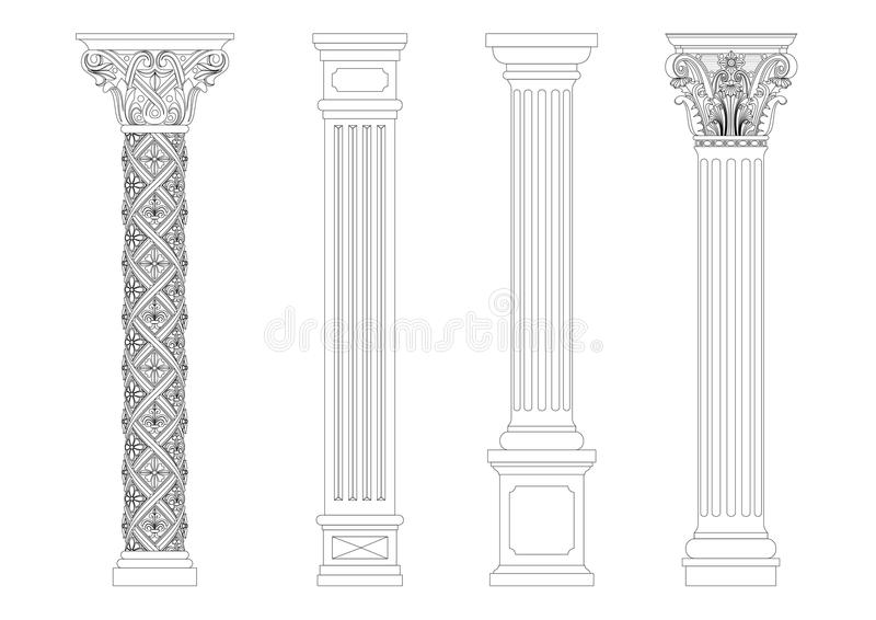 Contouring coloring of classical columns. Contour coloring of classical columns. Set of patterns in graphics vector illustration