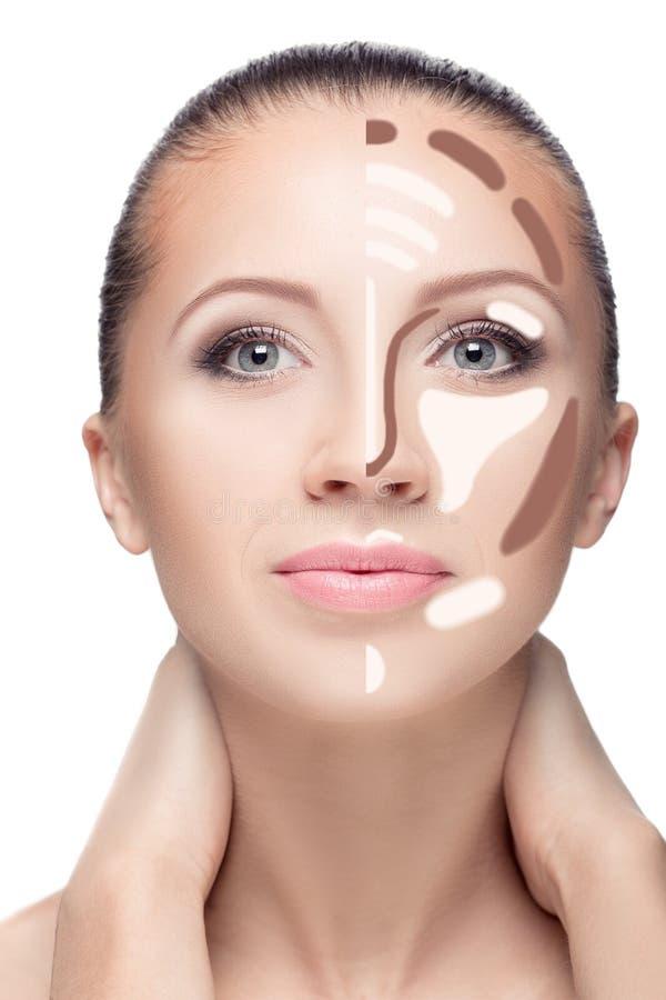 contouring Maak omhoog vrouwengezicht stock foto