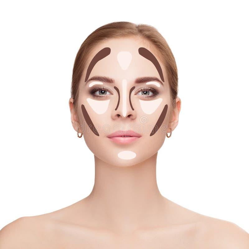 contouring Maak omhoog vrouwengezicht op witte achtergrond Professiona stock afbeelding