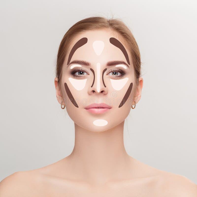 contouring Sminkkvinnaframsida på grå bakgrund professionell fotografering för bildbyråer
