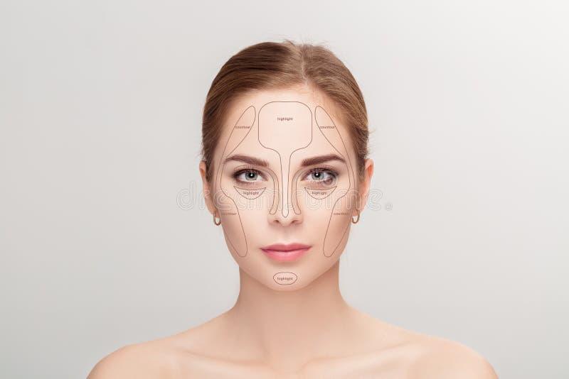 contouring Sminkkvinnaframsida på grå bakgrund professionell royaltyfri fotografi