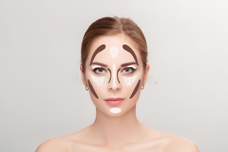 contouring Sminkkvinnaframsida på grå bakgrund professionell arkivfoto