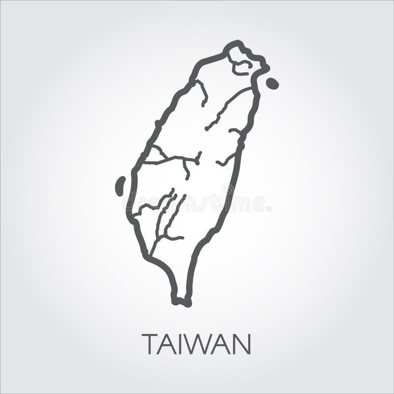 Contourkaart Taiwan met vorm van sommige rivieren De tekening van het eenvoudpictogram in lijnstijl Vectormalplaatje van land stock illustratie
