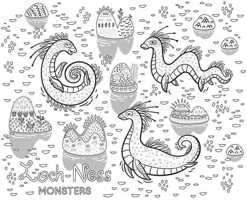 Contourloch Ness Monsters en decoratieve heuvels in het meer Vectorkindereninzameling, ideaal voor het kleuren van boek stock illustratie