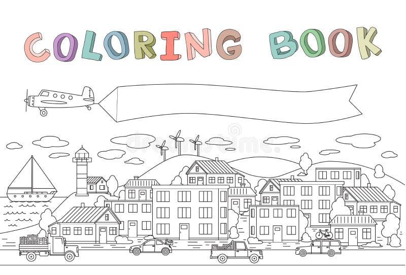 Contournez l'image de la ville avec des maisons, des voitures, l'avion et le bateau Copyspace sur une bannière plate Ligne illust illustration stock