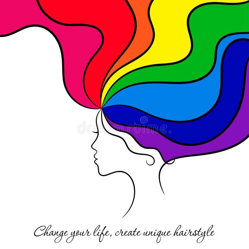 Contournez la carte de beauté avec la femme et sa coiffure d'arc-en-ciel illustration libre de droits
