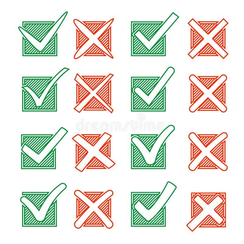 Contournez la Croix-Rouge X et le crochet vert V en hachurant la case à cocher Oui aucune icônes pour la sélection de point culmi illustration de vecteur