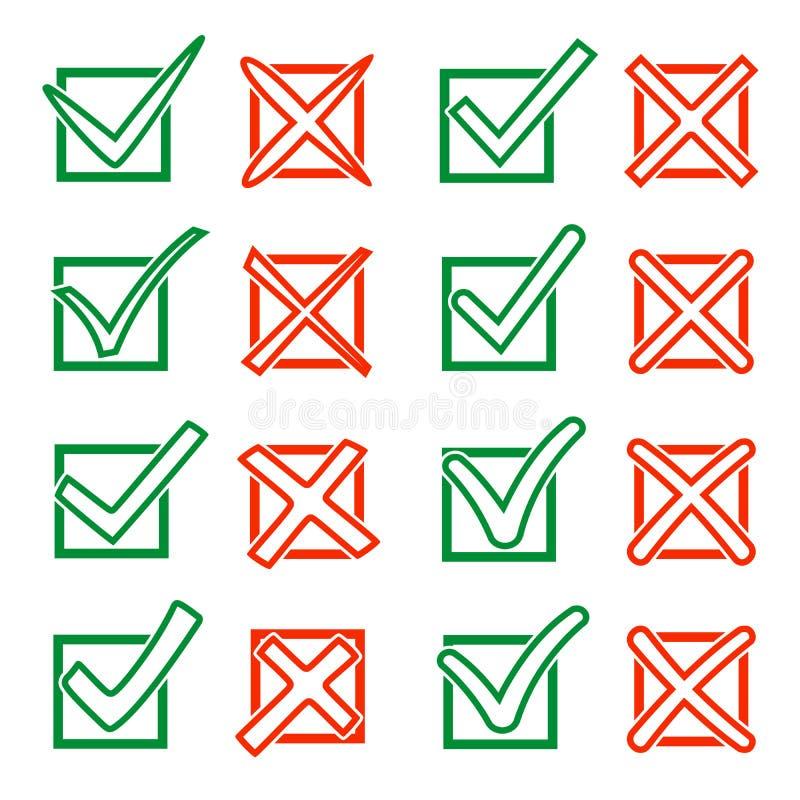 Contournez le crochet vert V et la Croix-Rouge X dans le checkbox Oui aucune icônes pour la sélection de point culminant Ensemble illustration de vecteur