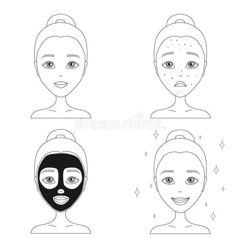contournez le dessin d 39 un visage triste d 39 une fille avec l 39 acn avec un noir illustration de. Black Bedroom Furniture Sets. Home Design Ideas