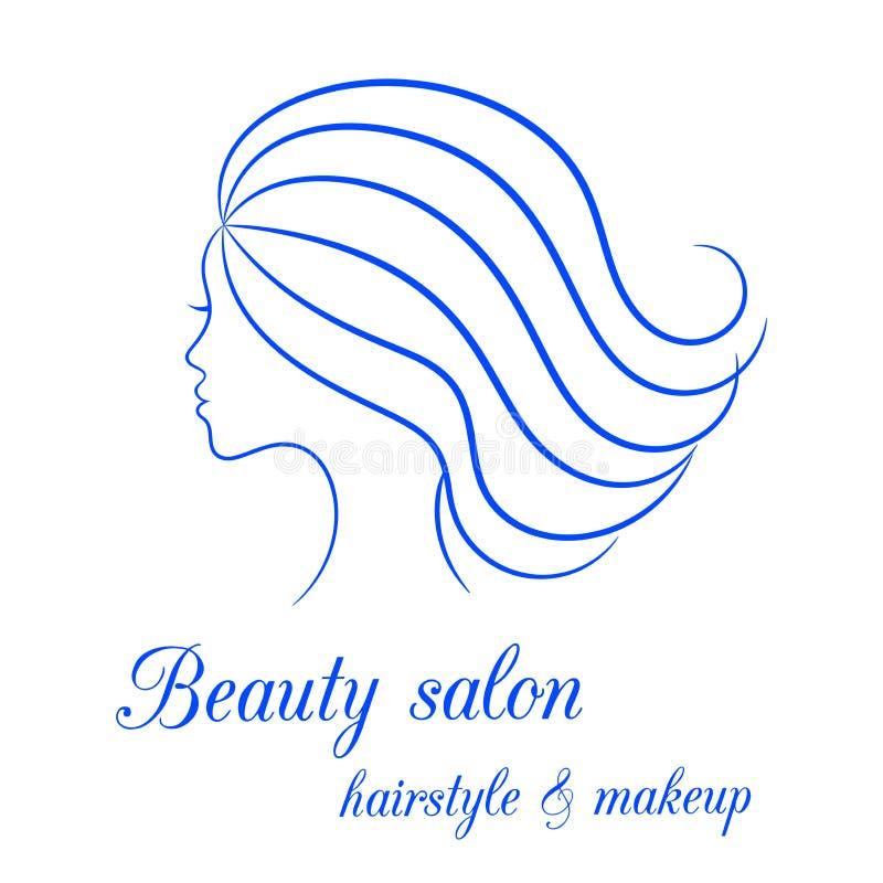 Contournez le logo avec le profil femelle pour le salon de beauté illustration libre de droits