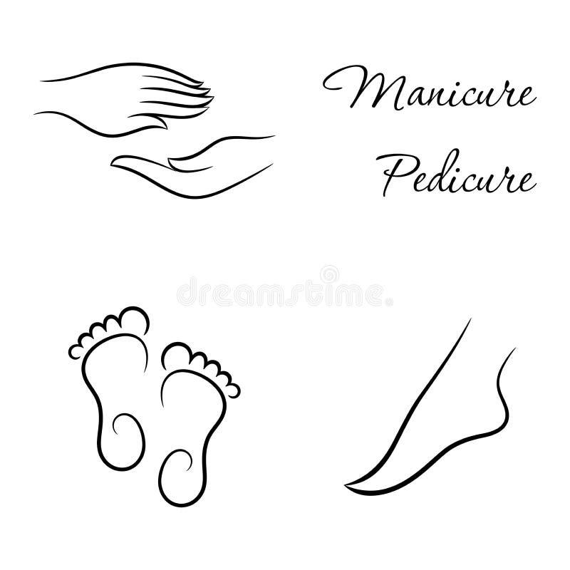 Contournez le modèle de manucure et de pédicurie avec des pieds et des mains illustration libre de droits
