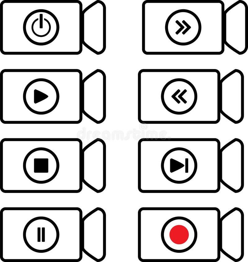 Contourpictogram om op de functionaliteit van de video te wijzen royalty-vrije illustratie
