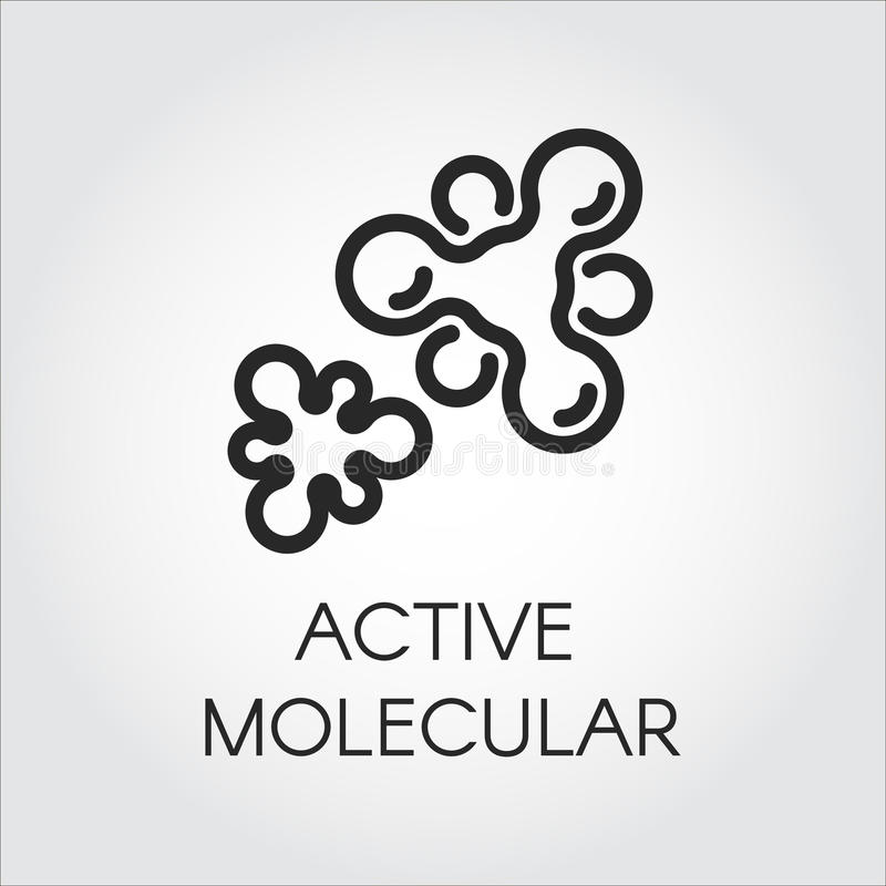 Contourpictogram van actieve moleculaire structuur Embleem in overzichtsstijl Zwart beeldschriftteken voor studie, wetenschap, ge vector illustratie