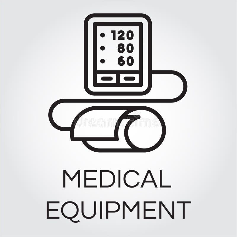 Contourpictogram van medische automatische tonometer voor bloeddruk het meten vector illustratie